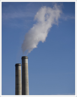 Smoke coming out of smoke stacks